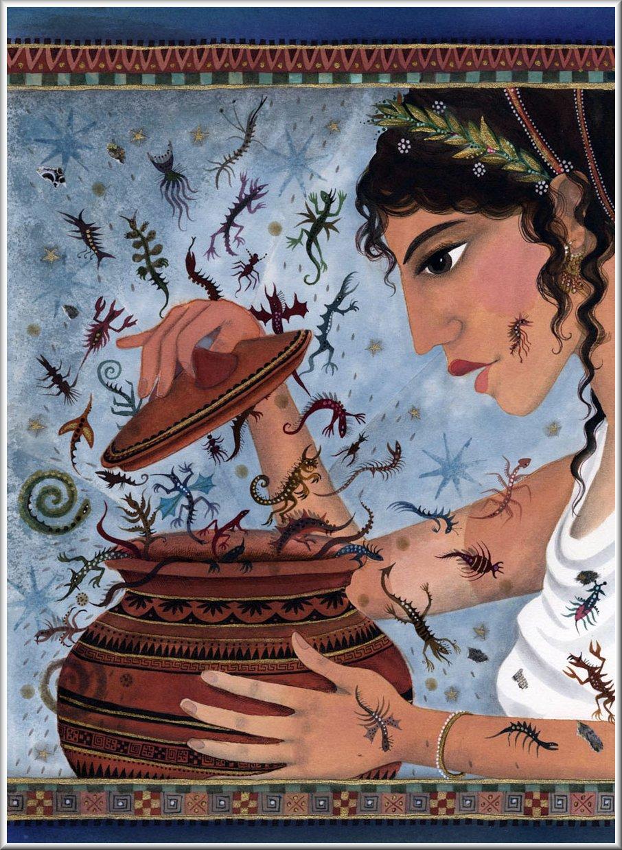 "Hope"" in ancient Greek: Pandora and the Greek goddess Elpis ..."